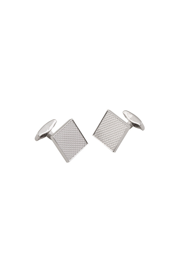 Rhodium Textured Houndstooth Square