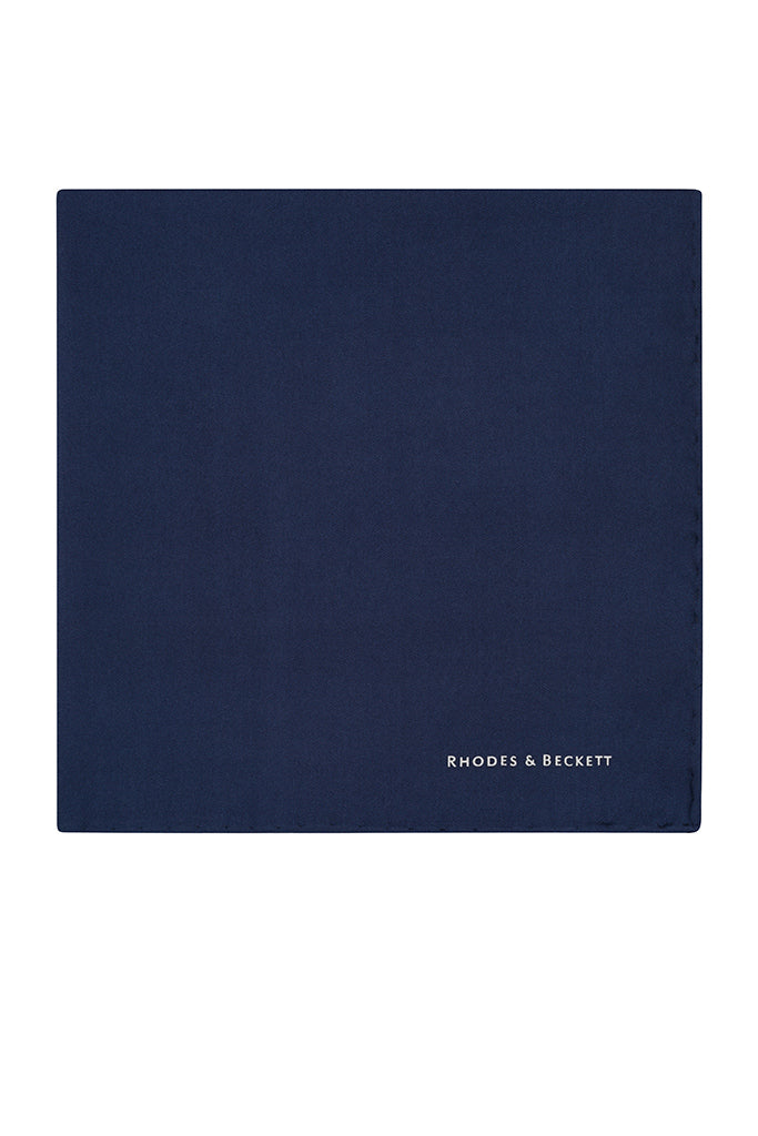 R&B Navy Silk Pocket Square