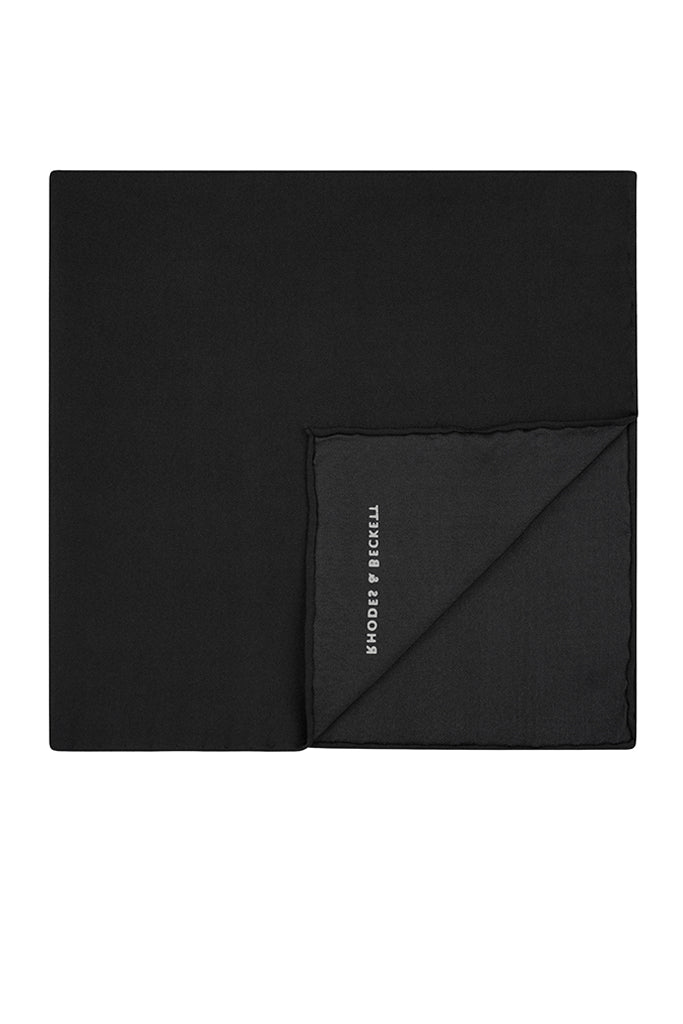 R&B Black Silk Pocket Square