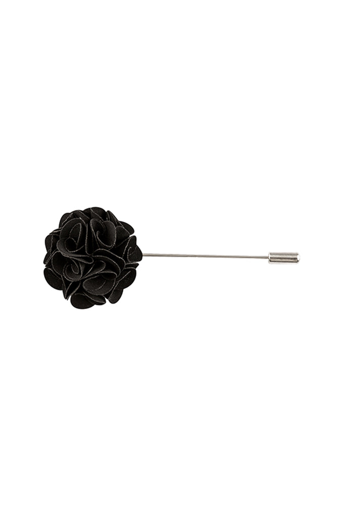 Black Flower Lapel Pin