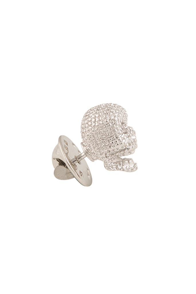 Silver Textured Skull Lapel Pin