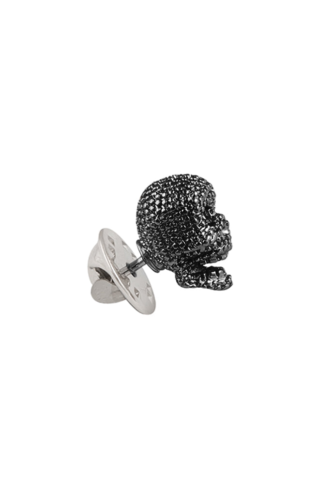 Black Textured Skull Lapel Pin