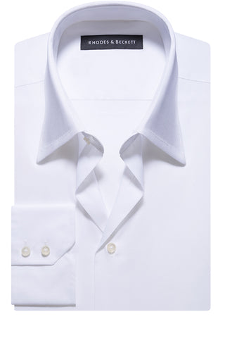 White Stretch Concealed Button Down Collar