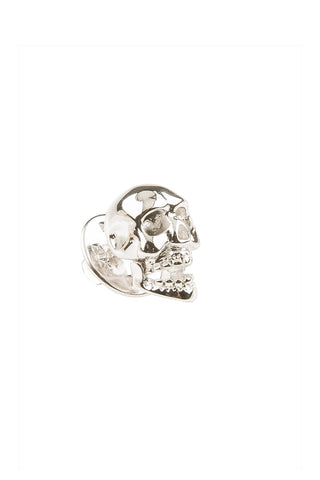 Rhodium Skull Lapel Pin