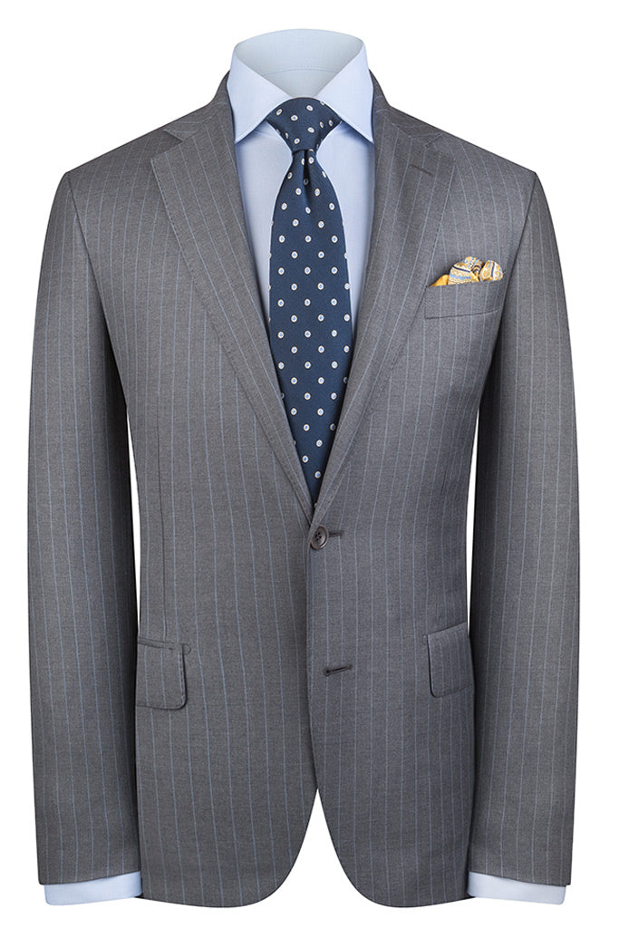 Mid Grey with Blue Pinstripe Luxury Suit