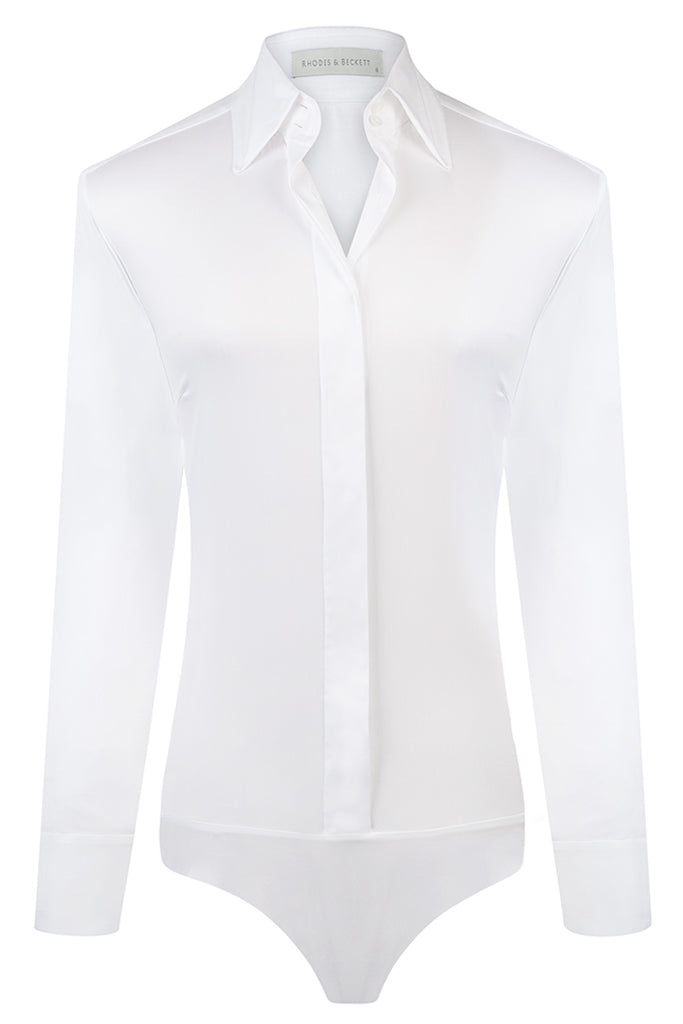 White Stretch Shirt Bodysuit