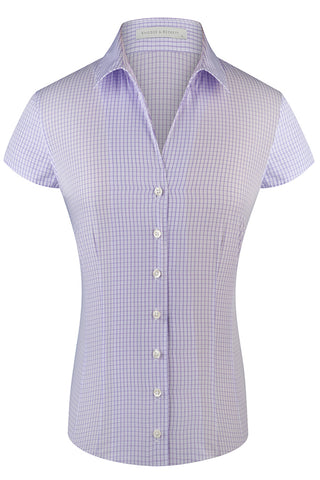 Lilac Mini Check Cap Sleeve