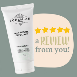 A customer review on our AHA Enzyme Exfoliant