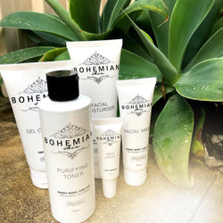Image of Bohemian Skin products, Purifying Toner, Spot Assist, Facial Mask, Facial Moisturiser and Gel Cleanser.