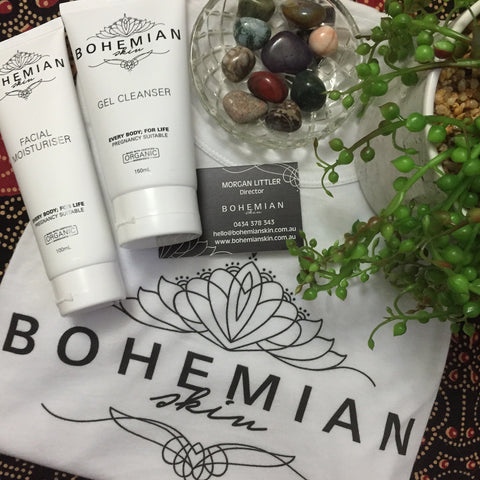 Image of Bohemian Skin products, Facial Moisturiser and Gel Cleanser.