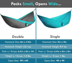 Youphoria Outdoors Portable Camping Ultralight Hammock dimensions.