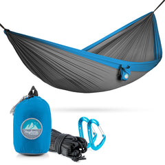 Youphoria Outdoors Portable Camping Ultralight Hammock in Gray/Blue