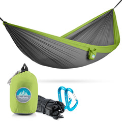 Youphoria Outdoors Portable Camping Ultralight Hammock in Gray/Green