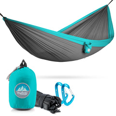 Youphoria Outdoors Portable Camping Ultralight Hammock in Gray/Mint