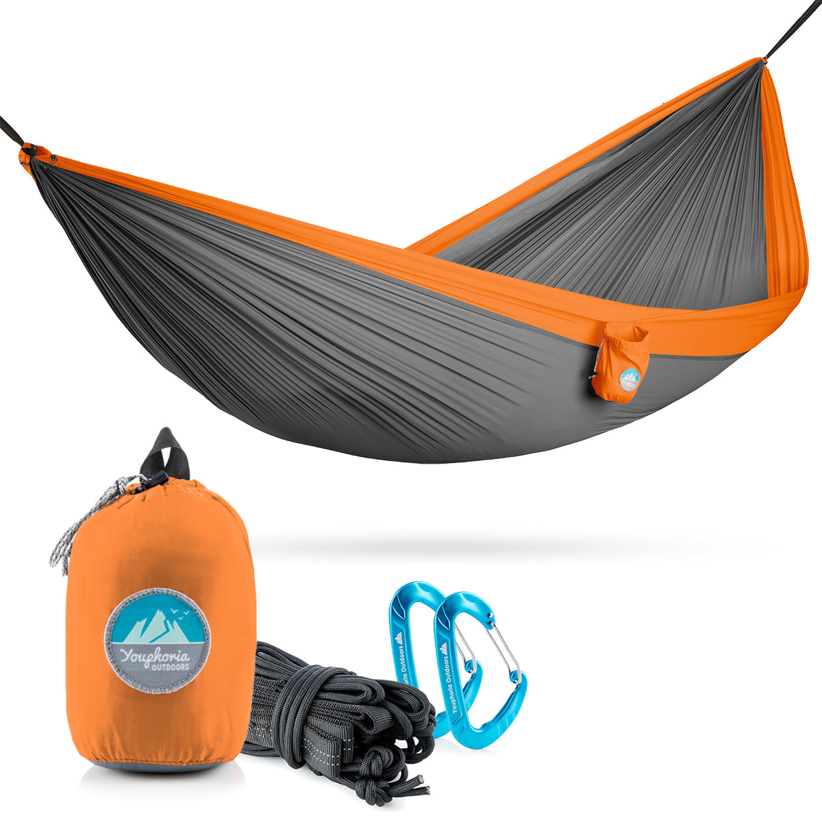 Youphoria Outdoors Portable Camping Ultralight Hammock in Gray/Orange