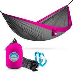 Youphoria Outdoors Portable Camping Ultralight Hammock in Gray/Pink