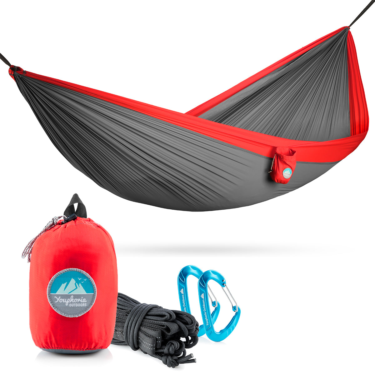 Youphoria Outdoors Portable Camping Ultralight Hammock in Gray/Red