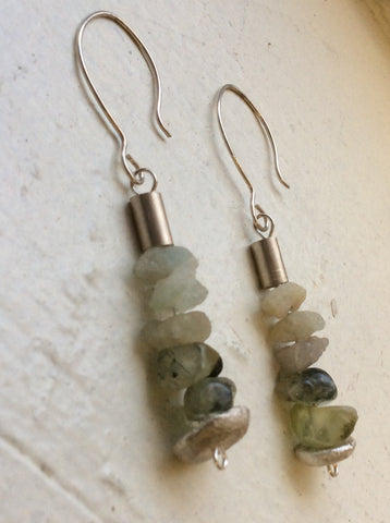 Raw Aquamarine Earrings, Sterling Earrings, Crystal Healing Jewelry, Chakra Jewelry, Raw Modern Jewelry