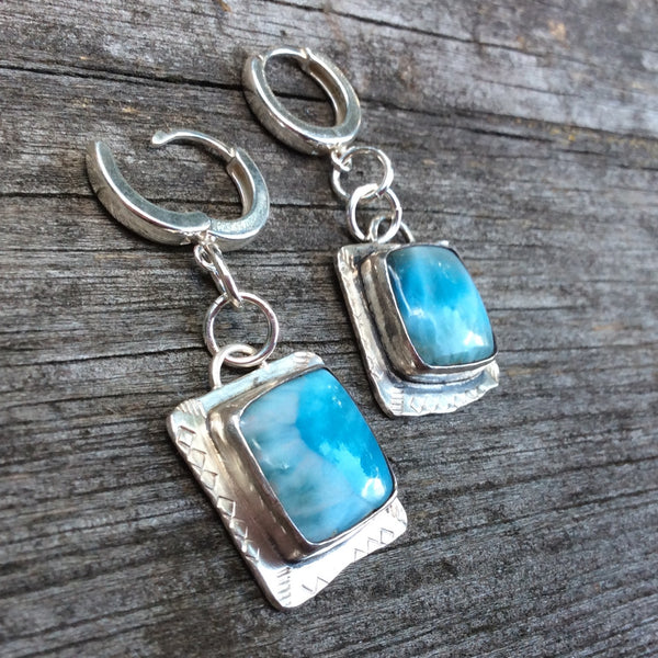 Larimar and Sterling Silver Earrings Dangle Earrings Raw Modern Earrings