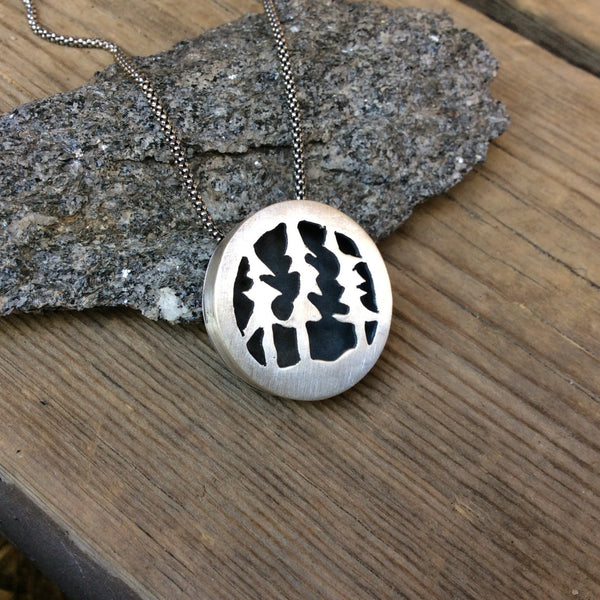 Custom Sterling Silver Forest Trees Necklace Tribal Necklace Nature Necklace