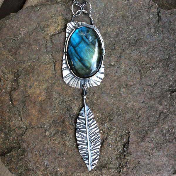 Labradorite Healing Stone Necklace Sterling Silver Pendant Feather Necklace Totally Handmade