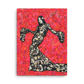 Urban art Fashion print on canvas Gold and Lace by Amy Smith