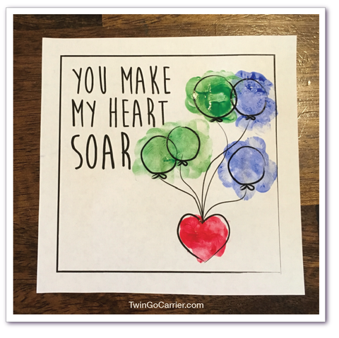 Valentines day card craft for twin toddlers