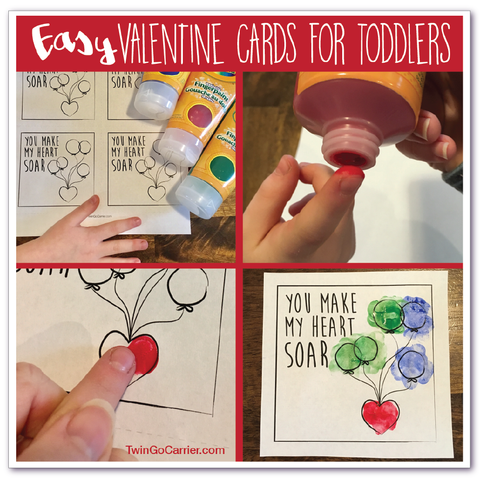 Valentines day card steps for twin toddlers