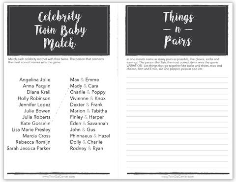 image relating to Twin Baby Shower Games Free Printable identified as Anticipating Twins? In this article are 5 dual-themed child shower game titles