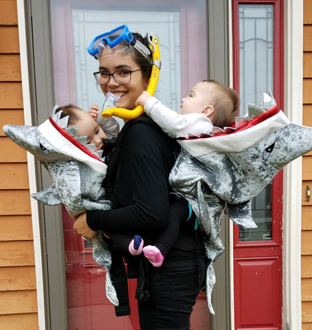 twin babywearing costume, twin shark costume, twin scuba diver costume