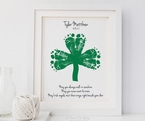 baby footprint print, twin footprints st. patrick's day