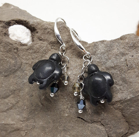 Stone Sea Turtle earrings with crystals - Awkward Turtle