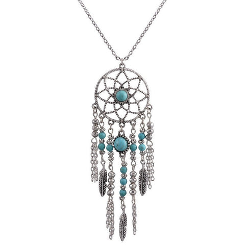 Dreamcatcher Necklace with Turquoise - Awkward Turtle
