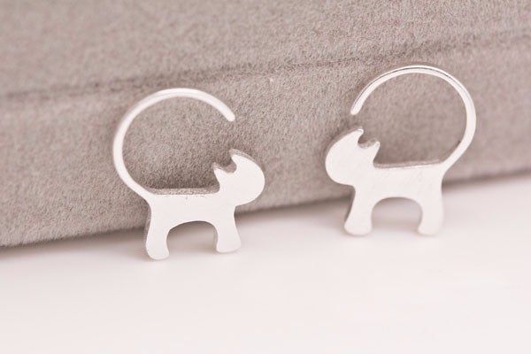 925 Sterling Silver Cat Earrings - Proceeds to the Belize Humane Society - Awkward Turtle