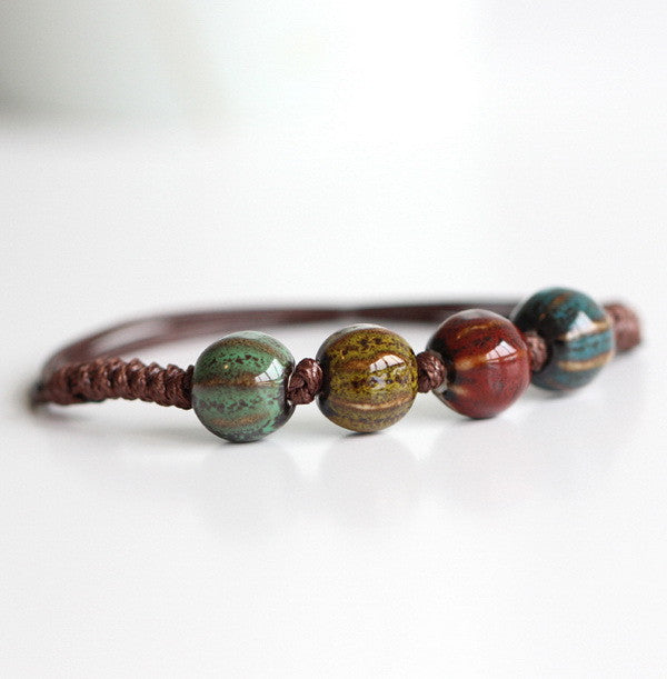 Boho Ceramic beaded bracelet - Awkward Turtle