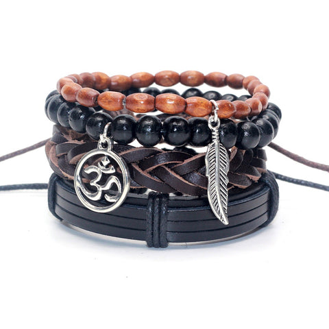 Mens 4 pc Leather Stack Bracelet - Awkward Turtle