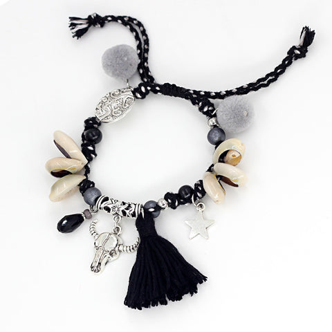 Shell Bracelet with a Black Tassel - Awkward Turtle