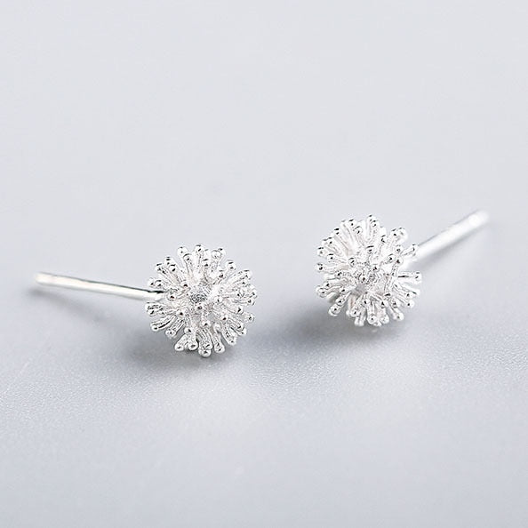 925 Sterling Silver Dandelion Stud Earrings - Awkward Turtle