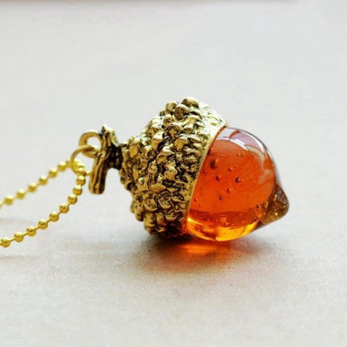 Acorn Necklace With Quartz Crystal - Awkward Turtle