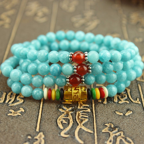 Blue Amazonite Mala Beads for Meditation, or Prayer - 108 Beads - Awkward Turtle