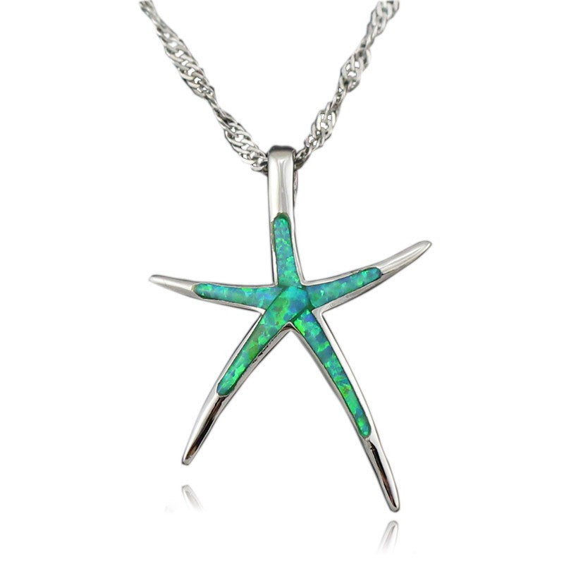 Dancing Fire Opal StarFish Pendant Necklace - Awkward Turtle
