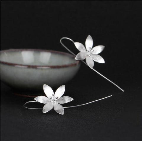 Lotus Flower 925 Sterling Silver Earrings - Awkward Turtle