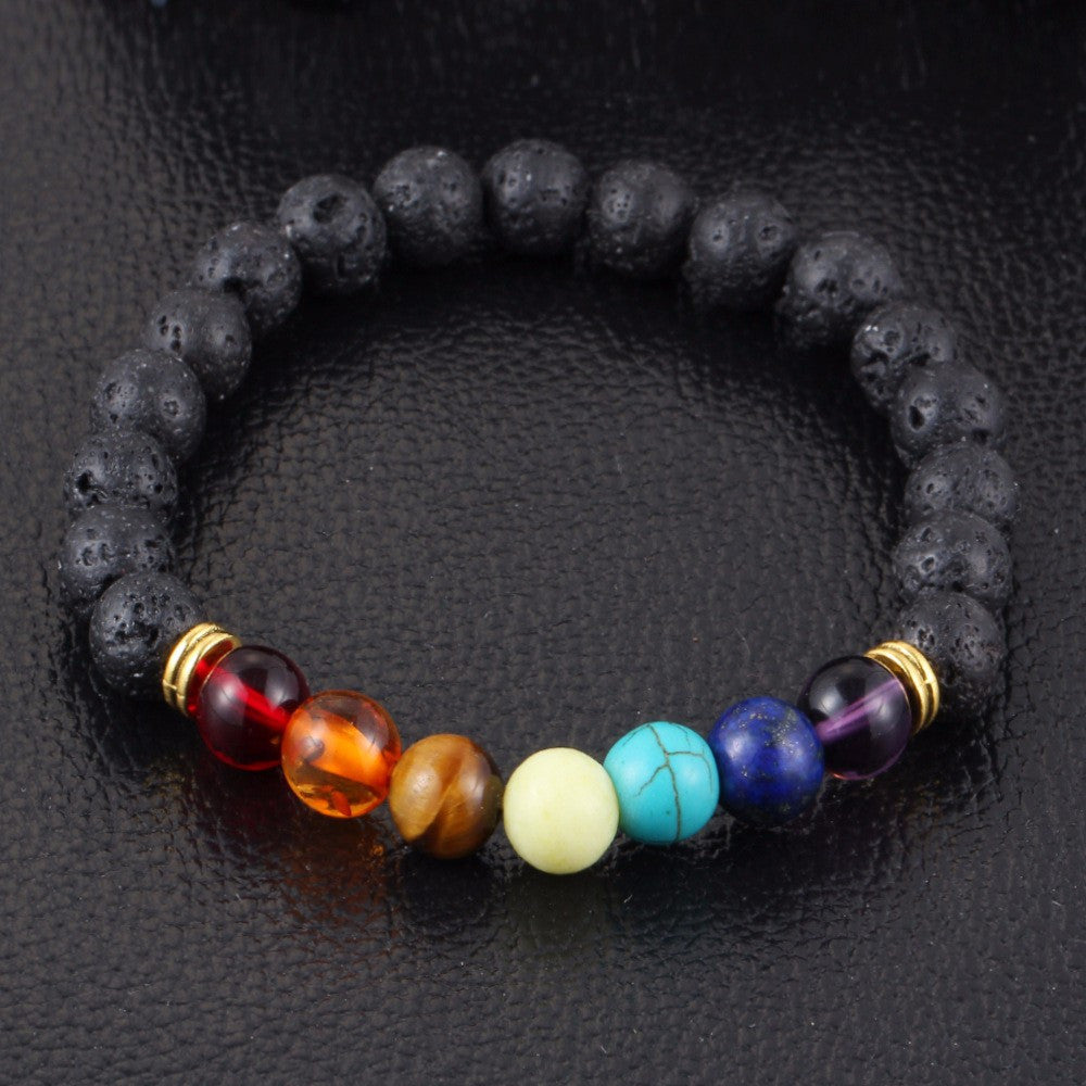 Lava Rock with Natural stones - 7 Chakra Healing Bracelet - Awkward Turtle