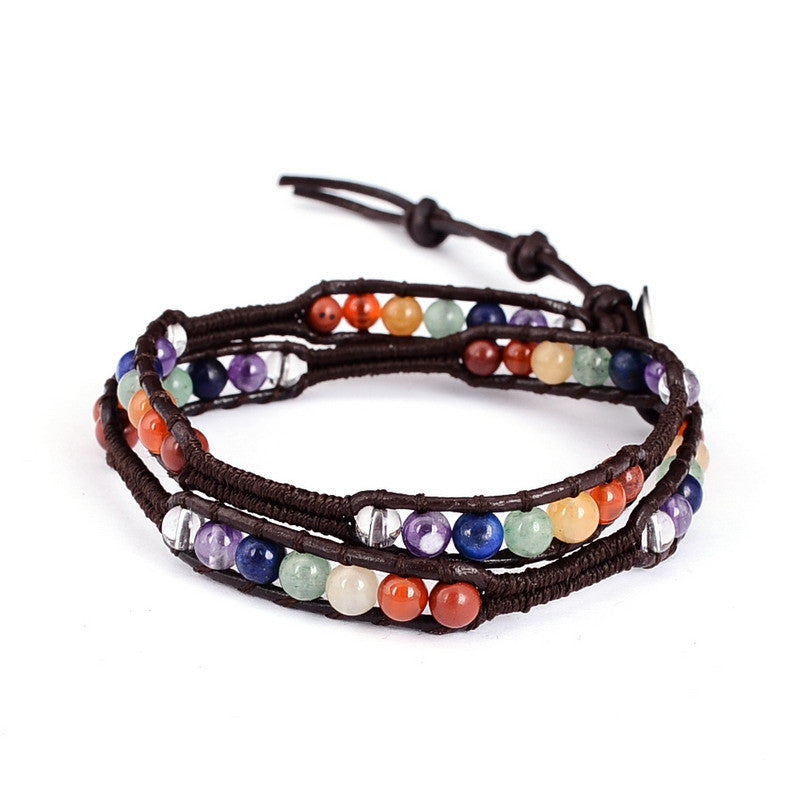 Multi Layer Natural Stone Leather Bracelet  Quartz Crystal - Awkward Turtle
