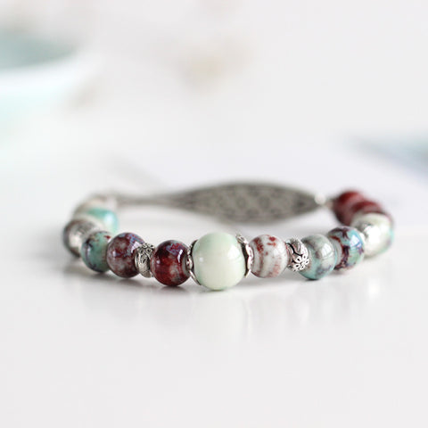 Ethnic Style Original Ceramic Beaded Adjustable Bracelet - Awkward Turtle