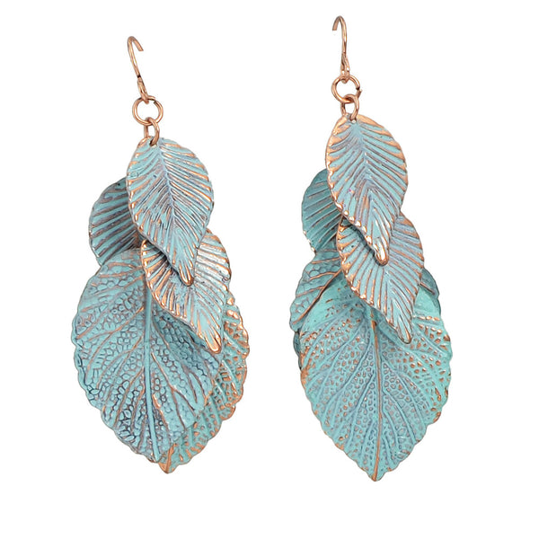 Antique Leaf Earrings - Awkward Turtle