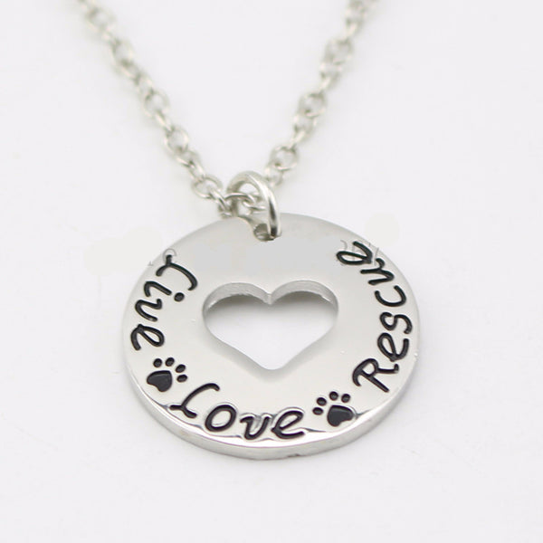 """Live Love Rescue ""Necklace Pet Lover Heart pendant necklace- Proceeds to the Belize Humane Society - Awkward Turtle"