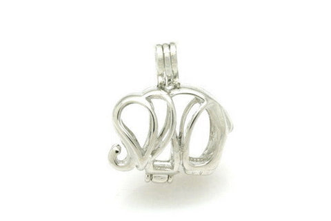 925 Sterling Silver Elephant Locket Pendant - Awkward Turtle