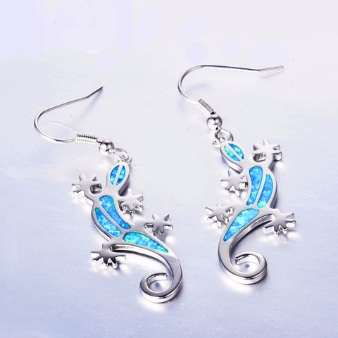 Gecko Blue Fire Opal Earrings  925 Sterling Silver - Awkward Turtle