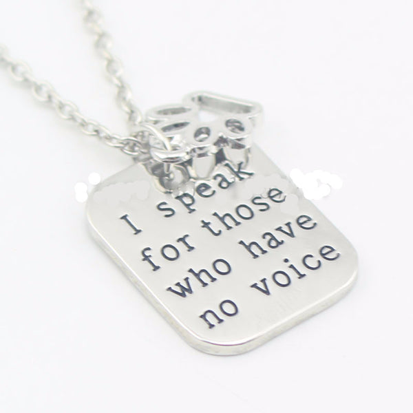 """I speak for those who have no voice""necklace- Proceeds to Belize Humane Society - Awkward Turtle"